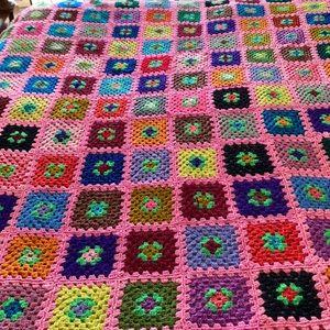 Pink Granny Square Afghan